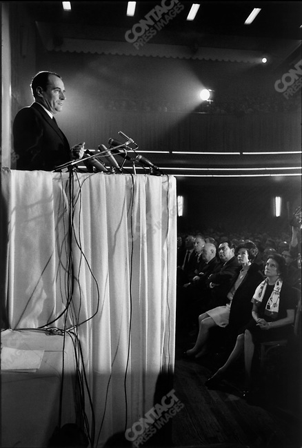 François Mitterrand, FGDS meeting with wife Danielle in the audience (2nd from right), La Muatualite, Paris, France, January 29, 1967
