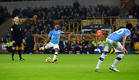 27th December 2019; Molineux Stadium, Wolverhampton, West Midlands, England; English Premier League, Wolverhampton Wanderers versus Manchester City; Raheem Sterling of Manchester City taking a free kick in the last minutes of the match - Strictly Editorial Use Only. No use with unauthorized audio, video, data, fixture lists, club/league logos or 'live' services. Online in-match use limited to 120 images, no video emulation. No use in betting, games or single club/league/player publications