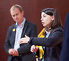 Tim Farron MP <br /> Leader of the LibDems addresses a public meeting on Brexit with Sarah Olney Liberal Democrat candidate in the Richmond Park by election at Christ Church, New Malden, Surrey, Great Britain <br /> 26th November 2016 <br /> <br /> Tim Farron <br /> Sarah Olney <br /> <br /> <br /> <br /> Photograph by Elliott Franks <br /> Image licensed to Elliott Franks Photography Services