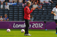 Glasgow, Scotland - July 25, 2012: Pia Sundhage, head coach of the US women's national team before USA's 4-2 win over France.