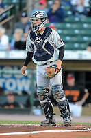 Scranton Wilkes-Barre RailRiders catcher J.R. Murphy #3 during a game against the Rochester Red Wings on June 19, 2013 at Frontier Field in Rochester, New York.  Scranton defeated Rochester 10-7.  (Mike Janes/Four Seam Images)