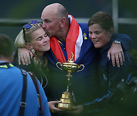 Europe wins the Ryder Cup. Thomas Bjorn (Team Europe Captain) enjoys a private photograph with his children, at Le Golf National, &Icirc;le-de-France, France. 30/09/2018.<br /> Picture David Lloyd / Golffile.ie<br /> <br /> All photo usage must carry mandatory copyright credit (&copy; Golffile | David Lloyd)