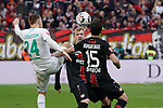 17.03.2019, BayArena, Leverkusen, GER, 1. FBL, Bayer 04 Leverkusen vs. SV Werder Bremen,<br />  <br /> DFL regulations prohibit any use of photographs as image sequences and/or quasi-video<br /> <br /> im Bild / picture shows: <br /> Johannes Eggestein (Werder Bremen #24), im Zweikampf gegen  Julian Brandt (Leverkusen #10), <br /> <br /> Foto © nordphoto / Meuter