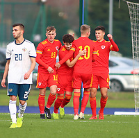 16th November 2019; Leckwith Stadium, Cardiff, Glamorgan, Wales; European Championship Under 19 2020 Qualifiers, Russia under 19s v Wales under 19s; Wales Under 19 celebrate after Neco Williams of Wales Under 19 penalty makes it 1-1 in the second half - Editorial Use
