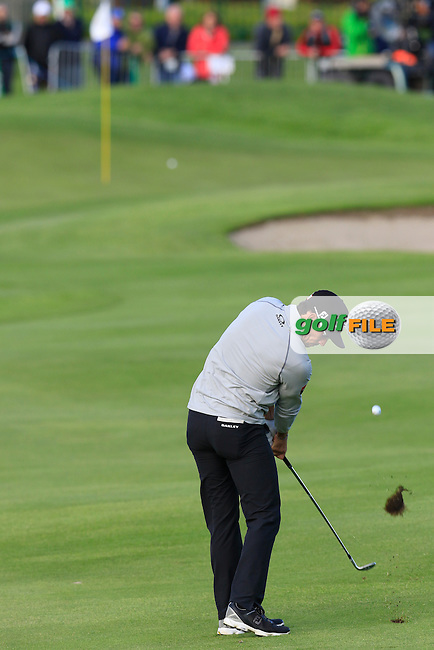 Rafa Cabrera-Bello (ESP) plays his 2nd shot on the 18th hole during Thursday's Round 1 of the 2016 Dubai Duty Free Irish Open hosted by Rory Foundation held at the K Club, Straffan, Co.Kildare, Ireland. 19th May 2016.<br /> Picture: Eoin Clarke | Golffile<br /> <br /> <br /> All photos usage must carry mandatory copyright credit (&copy; Golffile | Eoin Clarke)
