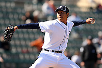 March 5, 2010:  Pitcher Fu-Te Ni of the Detroit Tigers during a Spring Training game at Joker Marchant Stadium in Lakeland, FL.  Photo By Mike Janes/Four Seam Images