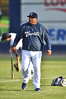 Asheville Tourists manager Robinson Cancel (37) before a game against the Hagerstown Suns at McCormick Field on April 30, 2019 in Asheville, North Carolina. The Tourists defeated the Suns 5-4. (Tony Farlow/Four Seam Images)