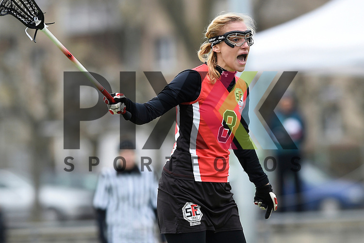Frankfurt am Main, Germany, March 14: During the Damen 1. Bundesliga West Lacrosse match between SC 1880 Frankfurt and Duesseldorfer Hirschkuehe on March 14, 2015 at the SC 1880 Frankfurt in Frankfurt am Main, Germany. Final score 20-13 (13-8). Inga Hupka #8 of SC 1880 Frankfurt<br /> <br /> Foto &copy; P-I-X.org *** Foto ist honorarpflichtig! *** Auf Anfrage in hoeherer Qualitaet/Aufloesung. Belegexemplar erbeten. Veroeffentlichung ausschliesslich fuer journalistisch-publizistische Zwecke. For editorial use only.
