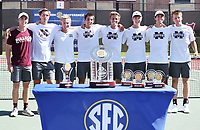 The Mississippi State men's tennis team celebrates winning the SEC Tournament Championship Sunday [April 29] in Tuscaloosa, Alabama. The Bulldogs defeated Texas A&amp;M 4-3 to claim the program's first conference championship title since 1996.<br />  (photo by Kelly Price / &copy; Mississippi State University Athletics)