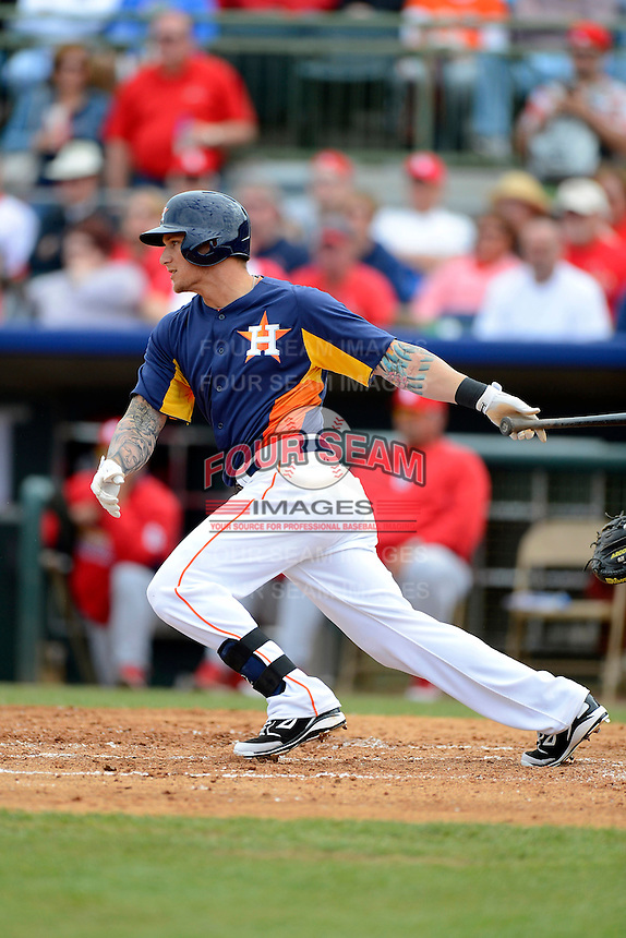 Houston Astros outfielder Brandon Barnes #2 during a Spring Training game against the St. Louis Cardinals at Osceola County Stadium on March 1, 2013 in Kissimmee, Florida.  The game ended in a tie at 8-8.  (Mike Janes/Four Seam Images)