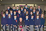 Teacher Kieran O'Muircheartaigh with his class from St Oliver's NS Killarney with Bishop Bill Murphy at their Confirmation in the Church of the Resurrection Killarney on Friday