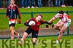 Brosna V Tarbert : Tarbert's Daniel O'Connor wins the ball despite the close attention of Brosna's  Kieran O'Donnell   in the semi final of the McMunn's sponsored Bernard O'Callaghan Memorial Senior North Kerry Football Championship in Listowel on Sunday last.