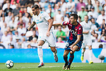 Theo Bernard Francois Hernandez Pi (L) of Real Madrid fights for the ball with Sergio Postigo Redondo (R) of Levante UD during the La Liga match between Real Madrid and Levante UD at the Estadio Santiago Bernabeu on 09 September 2017 in Madrid, Spain. Photo by Diego Gonzalez / Power Sport Images
