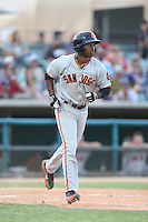 Chris Lofton #15 of the San Jose Giants runs to first base during a game against the Lancaster JetHawks at The Hanger on May 3, 2014 in Lancaster, California. San Jose defeated Lancaster, 5-4. (Larry Goren/Four Seam Images)