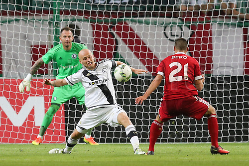 03.08.2016, Warsaw, Poland,  Arkadiusz Malarz (Legia), Michal Pazdan (Legia), Matus Bero (Trencin), Legia Warsaw versus AS Trencin, Champions League, qualification. The game  ended in a 0-0 draw with Legio going through on away goal.