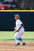 Trent Chatterton (8) of the UCLA Bruins in the field during a game against the Texas Longhorns at Jackie Robinson Stadium on March 12, 2016 in Los Angeles, California. UCLA defeated Texas, 5-4. (Larry Goren/Four Seam Images)