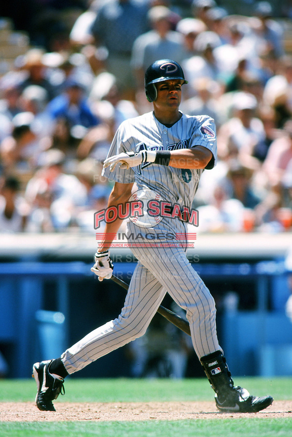 Andy Fox of the Arizona Diamondbacks bats during a 1999 season Major League Baseball game against the Los Angeles Dodgers at Dodger Stadium in Los Angeles, California. (Larry Goren/Four Seam Images)