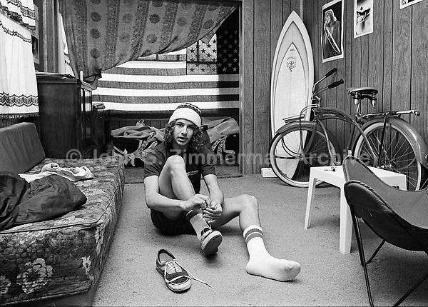 Tony Alva, Skateboarder, photographed at home, Venice California, 1978. Photo by john G. Zimmerman.
