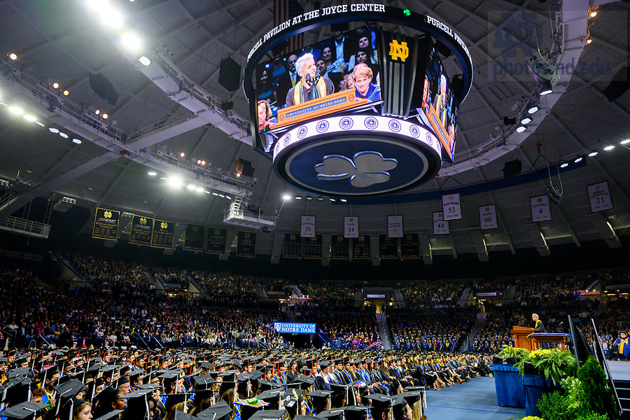 May 19, 2019; Valedictorian Sofia Carozza gives her address at the 2019 Notre Dame Commencement ceremony. (Photo by Matt Cashore/University of Notre Dame)