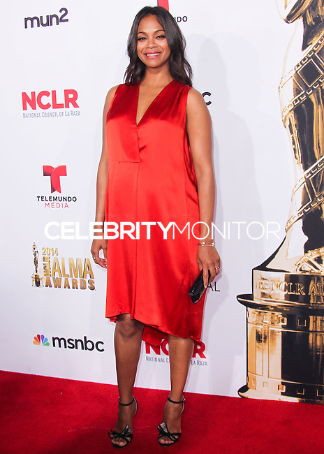 PASADENA, CA, USA - OCTOBER 10: Zoe Saldana arrives at the 2014 NCLR ALMA Awards held at the Pasadena Civic Auditorium on October 10, 2014 in Pasadena, California, United States. (Photo by Celebrity Monitor)