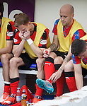 Dean Shiels and Nicky Law on the bench