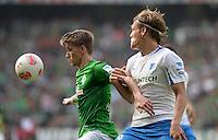 FUSSBALL   1. BUNDESLIGA   SAISON 2012/2013    32. SPIELTAG SV Werder Bremen - TSG 1899 Hoffenheim             04.05.2013 Nils Petersen (li, SV Werder Bremen) gegen Jannik Vestergaard (re, TSG 1899 Hoffenheim)