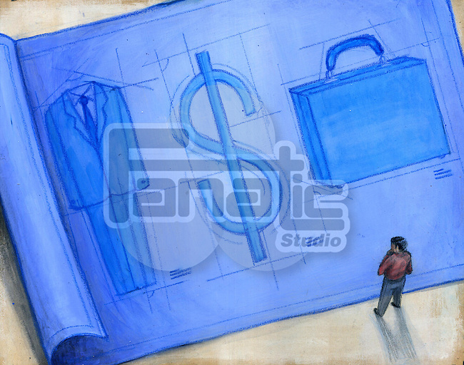 Businessman looking at blueprint