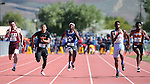 Desert Pines' Artis McCoy, center, competes in the 1-A Boys 100 at the NIAA track and field finals at Carson High School in Carson City, Nev., on Saturday, May 21, 2016. Cathleen Allison/Las Vegas Review-Journal