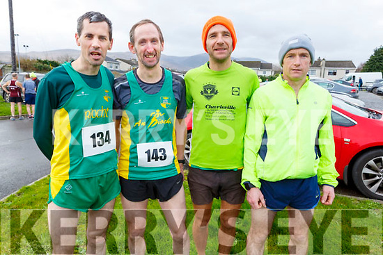 An Riocht runners, James Doran (Brosna), David Moore and Tommy O'Brien from Tralee with Sean O'Sullivan (Castleisland) at the Kerins O'Rahillys GAA Club 10k/5k race at the clubhouse on Sunday.