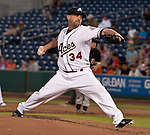 Reno Aces pitcher Mike DeMark throws agianst the Fresno Grizzlies during their game on Friday night August 10, 2012 at Aces Ballpark in Reno NV.