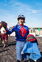 OLDSMAR, FL - JANUARY 21: Daniel Centeno, celebrates after winning the Wayward Lass Stakes, on Skyway Festival Day at Tampa Bay Downs on January 21, 2017 in Oldsmar, Florida. (Photo by Douglas DeFelice/Eclipse Sportswire/Getty Images)