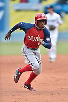 Hagerstown Suns center fielder Victor Robles (16) runs to third during a game against the Asheville Tourists at McCormick Field on June 6, 2016 in Asheville, North Carolina. The Tourists defeated the Suns 12-10. (Tony Farlow/Four Seam Images)
