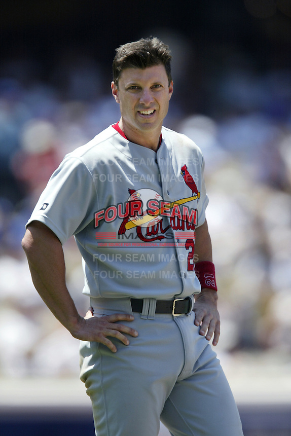 Tino Martinez of the St. Louis Cardinals during a 2002 MLB season game against the Los Angeles Dodgers at Dodger Stadium, in Los Angeles, California. (Larry Goren/Four Seam Images)