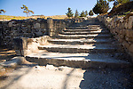 Restored stone staircase Ancient Kamiros, Rhodes, Greece
