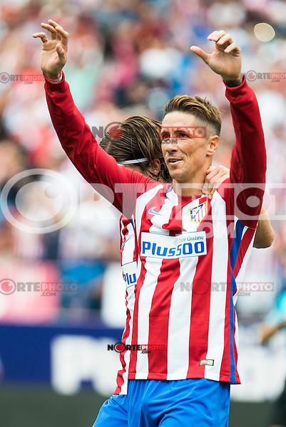 Atletico de Madrid's player Fernando Torres and Filipe Luis celebrating a goal during a match of La Liga Santander at Vicente Calderon Stadium in Madrid. September 17, Spain. 2016. (ALTERPHOTOS/BorjaB.Hojas) /NORTEPHOTO