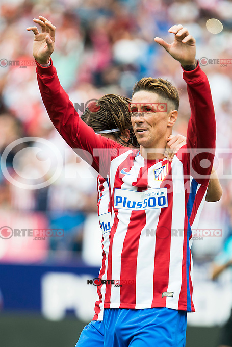 Atletico de Madrid's player Fernando Torres and Filipe Luis celebrating a goal during a match of La Liga Santander at Vicente Calderon Stadium in Madrid. September 17, Spain. 2016. (ALTERPHOTOS/BorjaB.Hojas) /NORTEPHOTO