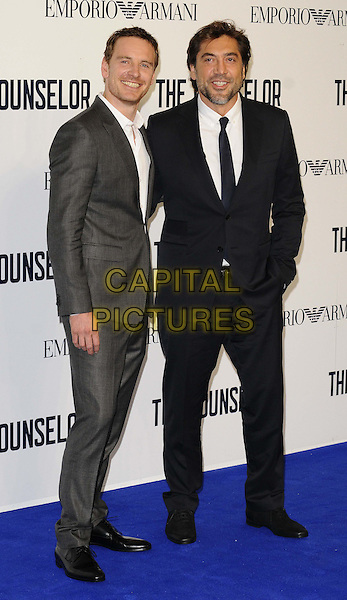 Michael Fassbender &amp; Javier Bardem<br /> attended a special screening of &quot;The Counselor&quot; at the Odeon West End cinema, Leicester Square, London, England, UK, <br /> 3rd October 2013.<br /> film premiere full length grey gray suit white shirt black tie blue <br /> CAP/CAN<br /> &copy;Can Nguyen/Capital Pictures