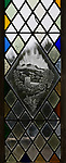 Modern glass engraving inside church of Saint Peter, Milton Lilbourne, Wiltshire, England, UK engraved by Simon Whistler (1940-2005) as a  Millennium commemoration