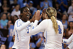 10 September 2015: North Carolina's Victoria McPherson (7) and Leigh Andrew (4). The University of North Carolina Tar Heels hosted the Stanford University Cardinal at Carmichael Arena in Chapel Hill, NC in a 2015 NCAA Division I Women's Volleyball contest. North Carolina won the match 25-17, 27-25, 25-22.