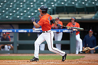 Nate Eikhoff (32) of the Virginia Cavaliers follows through on his swing against the Duke Blue Devils in Game Seven of the 2017 ACC Baseball Championship at Louisville Slugger Field on May 25, 2017 in Louisville, Kentucky. The Blue Devils defeated the Cavaliers 4-3. (Brian Westerholt/Four Seam Images)