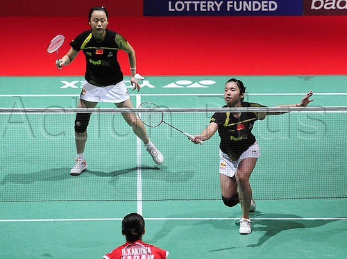 12.08.2011. London - Wembley Stadium.  China s Tian Qing r and Zhao Yunlei l compete during their Quarter finals Women s Doubles Match Against Mizuki Fujii and Reika  of Japan in 2011 s Badminton World Championships AT Wembley Arena  Tian and Zhao Won 2 0 to ENTER The Semi Finals