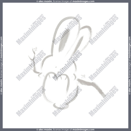 Cute happy bunny rabbit swinging on a branch, artistic illustration based on an original sumi-e painting artwork, minimalistic design gray isolated on white background