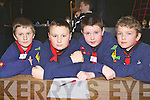 Fossa scouts that participated in the Kerry Scouts table quiz in Fossa Community Centre on Sunday l-r: Eoin Sheehan, Shane O'Sullivan, Jack Coffey and David Mea....