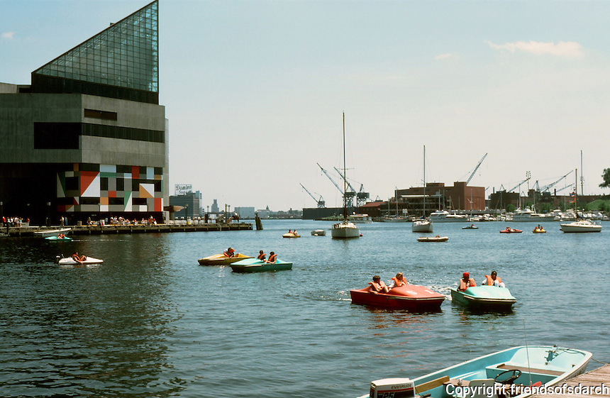 Baltimore:  #9.  Inner Harbor--Aquarium in background.  Photo '85.