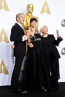 LOS ANGELES - FEB 28:  Lesley Vanderwalt, Elka Wardega, Damian Martin at the 88th Annual Academy Awards - Press Room at the Dolby Theater on February 28, 2016 in Los Angeles, CA