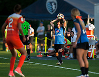 Kansas City, MO - Sunday July 02, 2017:  Christina Gibbons prepares for a throw in during a regular season National Women's Soccer League (NWSL) match between FC Kansas City and the Houston Dash at Children's Mercy Victory Field.