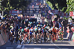 Mass sprint for the finish line of Stage 5 of the 100th edition of the Giro d'Italia 2017, running 159km from Pedara to Messina, Sicily, Italy. 10th May 2017.<br /> Picture: LaPresse/Gian Mattia D'Alberto | Cyclefile<br /> <br /> <br /> All photos usage must carry mandatory copyright credit (&copy; Cyclefile | LaPresse/Gian Mattia D'Alberto)