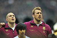 Mike Brown and England captain Chris Robshaw sing the national anthem prior to the match. RBS Six Nations match between England and Scotland on February 2, 2013 at Twickenham Stadium in London, England. Photo by: Patrick Khachfe / Onside Images