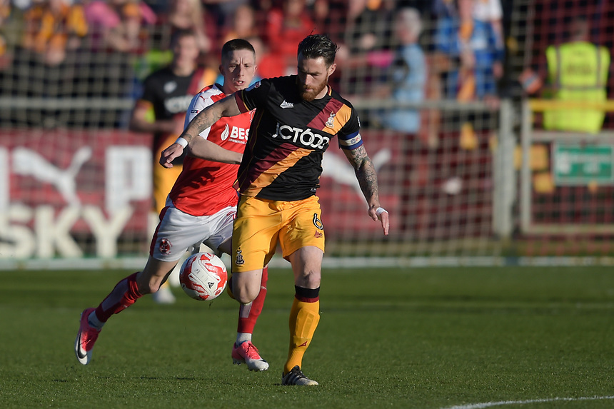 Bradford City's Romain Vincelot under pressure from Fleetwood Town's Ashley Hunter<br /> <br /> Photographer Terry Donnelly/CameraSport<br /> <br /> The EFL Sky Bet League One Play-Off Second Leg - Fleetwood Town v Bradford City - Sunday 7th May 2017 - Highbury Stadium - Fleetwood<br /> <br /> World Copyright &copy; 2017 CameraSport. All rights reserved. 43 Linden Ave. Countesthorpe. Leicester. England. LE8 5PG - Tel: +44 (0) 116 277 4147 - admin@camerasport.com - www.camerasport.com