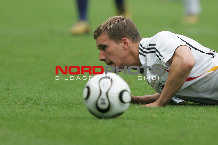 FIFA WM 2006 - Quarter-finals / Viertelfinale<br /> Play #57 (30-Jun) - Germany vs Argentina.<br /> Lukas Podolski from Germany faces the ball during the match of the World Cup in Berlin.<br /> Foto &copy; nordphoto